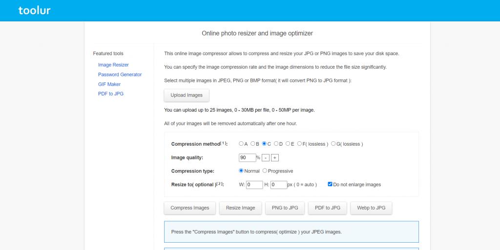 Image compression website screenshot for image SEO optimization