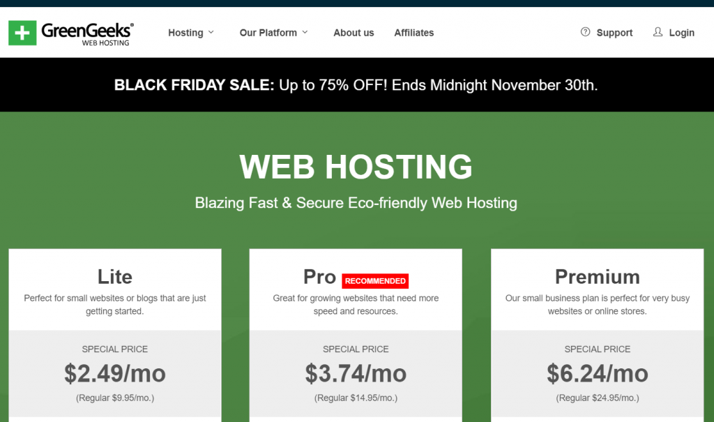 GreenGeeks Black Friday Discount Price