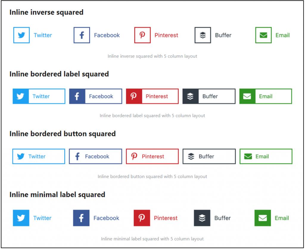 Novashare plugin Social buttons Layout