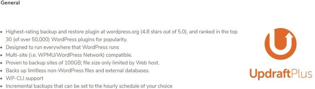 updraftPlus best features