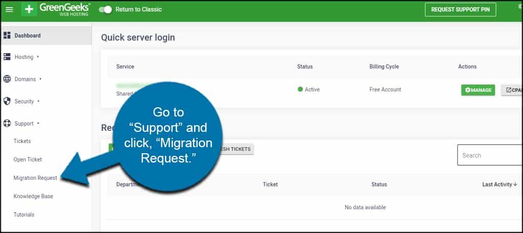 Hosting free migration procedures