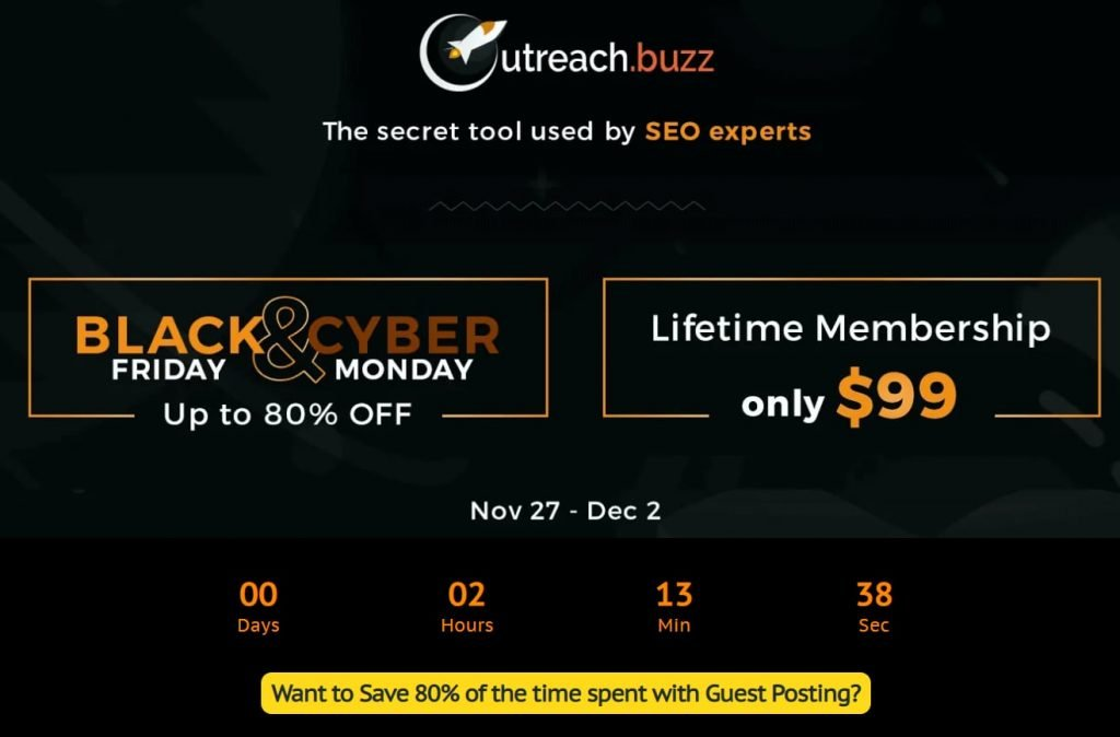 Outreach.buzz Black Friday deal prices