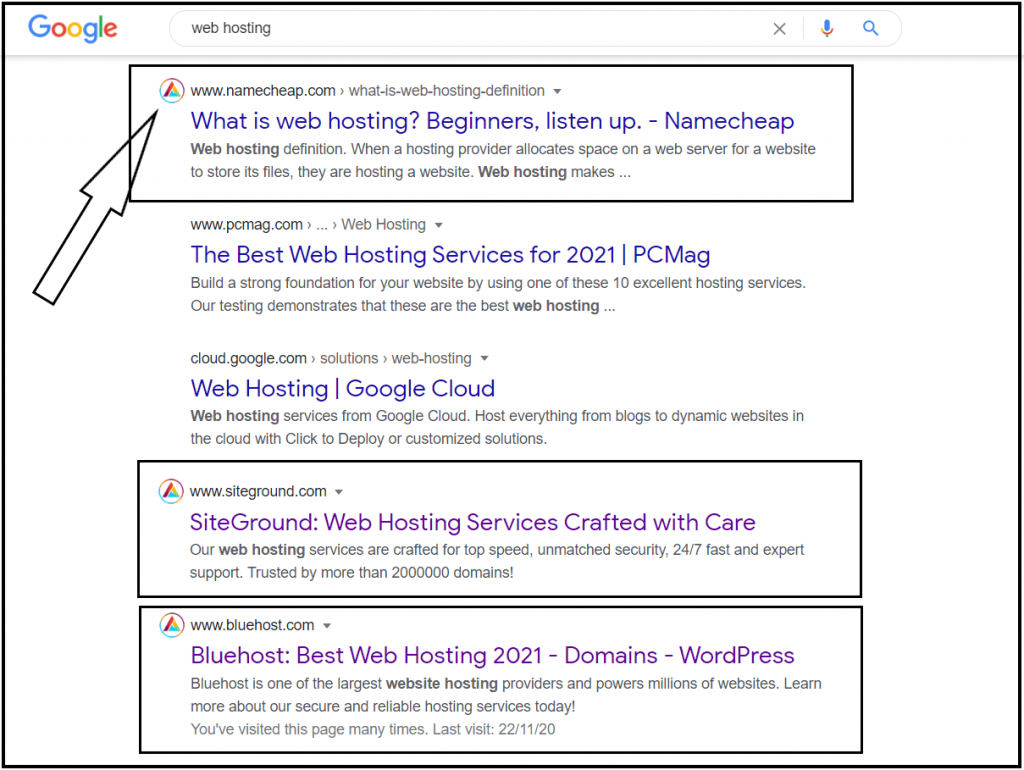 Affilitizer Icon in Google SERP results