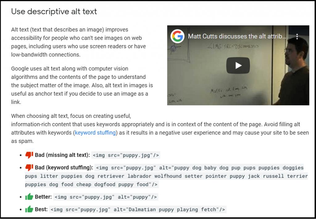 Google explains about descriptive alt text to images