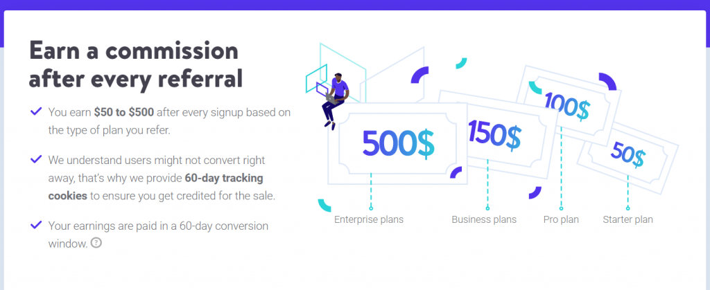 Commission structure of kinsta hosting affiliates