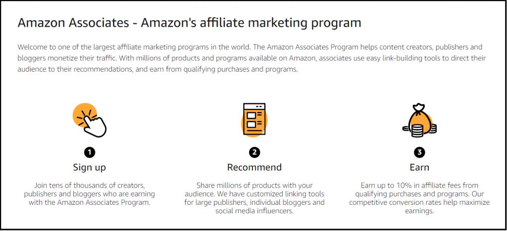 Amazon associate affiliate program