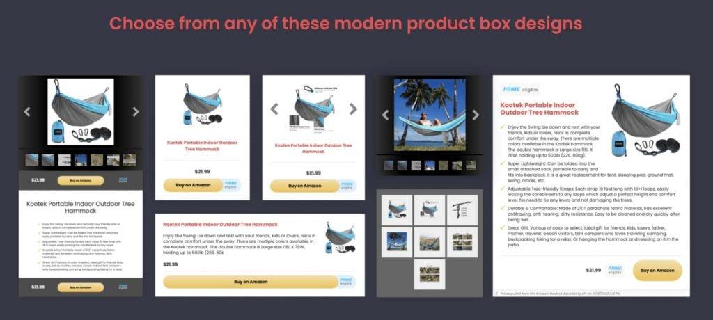 Product show Box from plugin