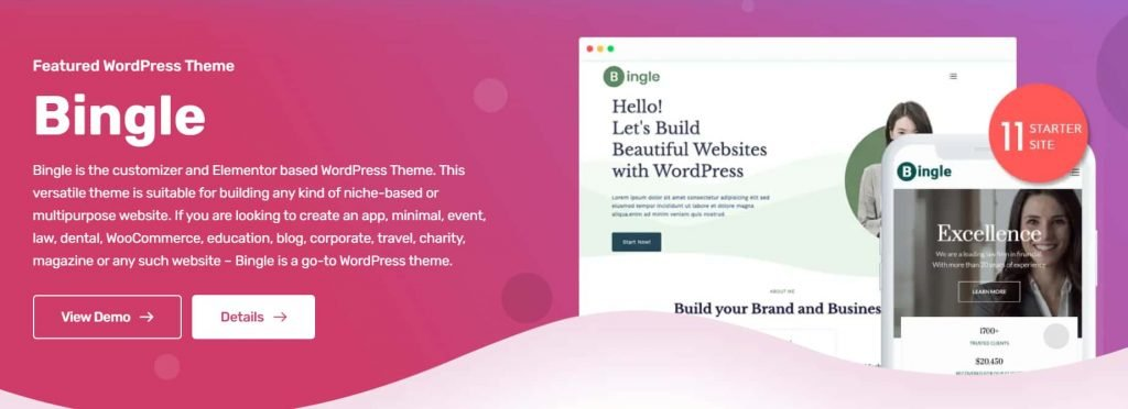 Bingle - Free multipurpose theme from developers