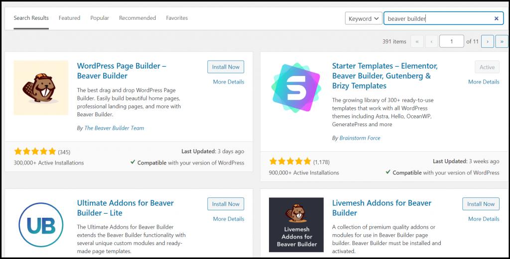 Search for the WordPress plugin