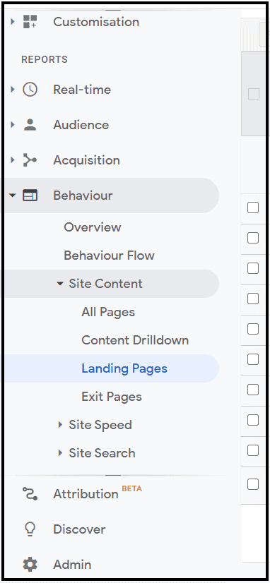 Bounce rate for each landing page on Google analytics