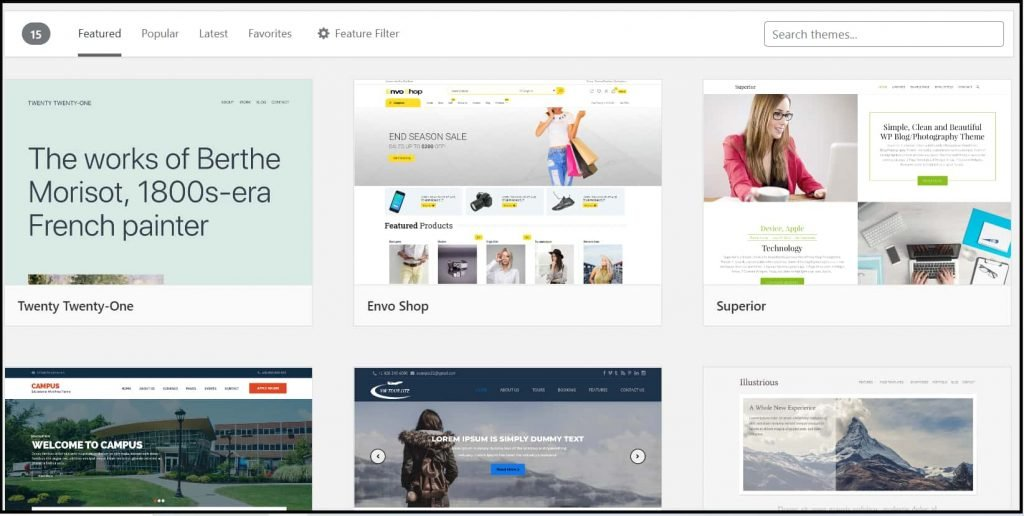Free themes from WordPress directory