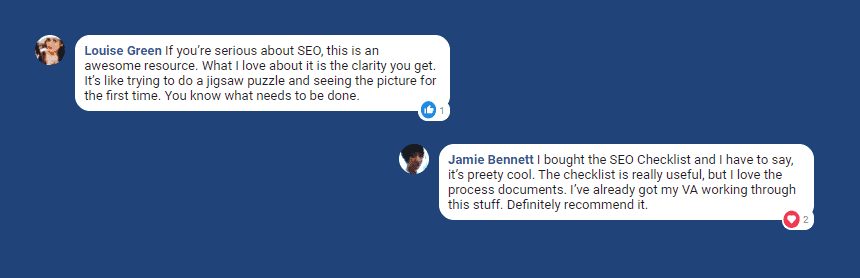 Users testimonials on SEO checklist product