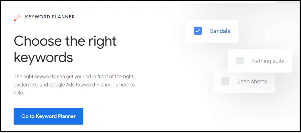 Google keyword planner for keyword planning