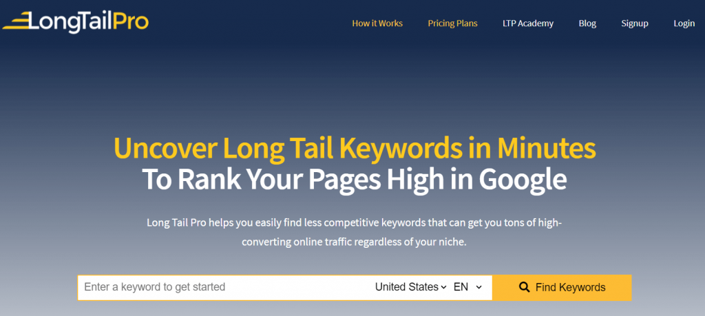 Long tail Pro - Find long tail keywords