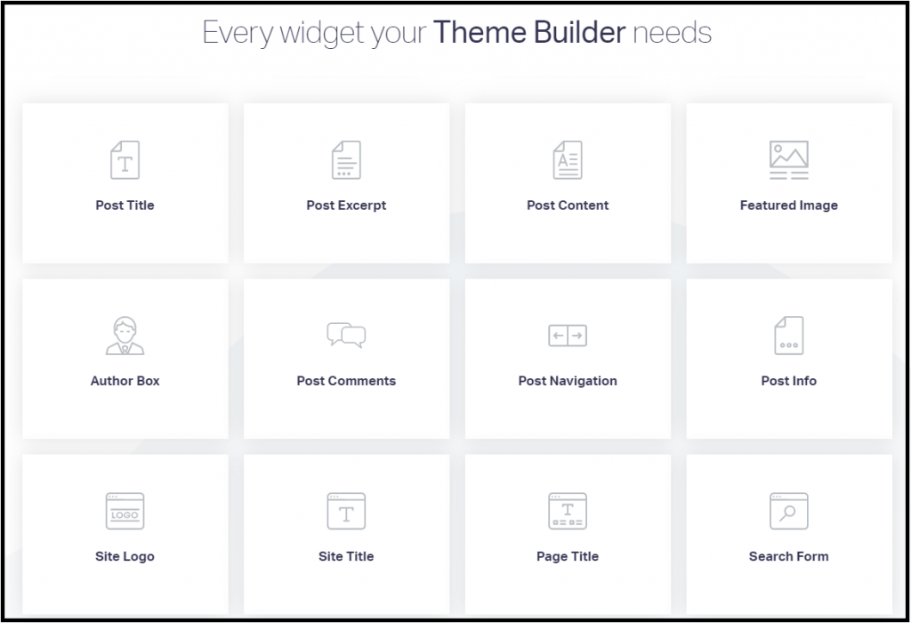 Page builder widget and elements