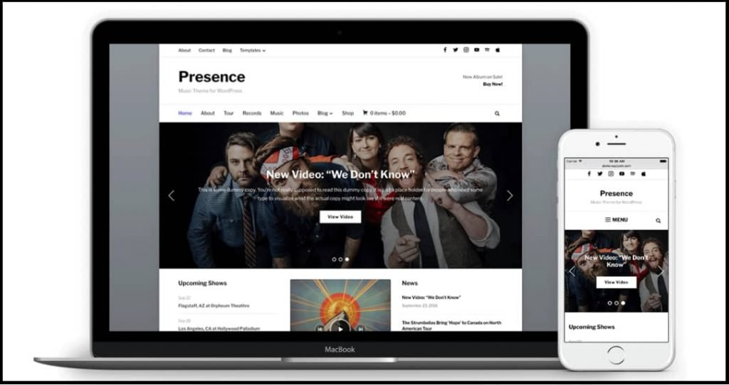 Presence - easy customizable WordPress theme