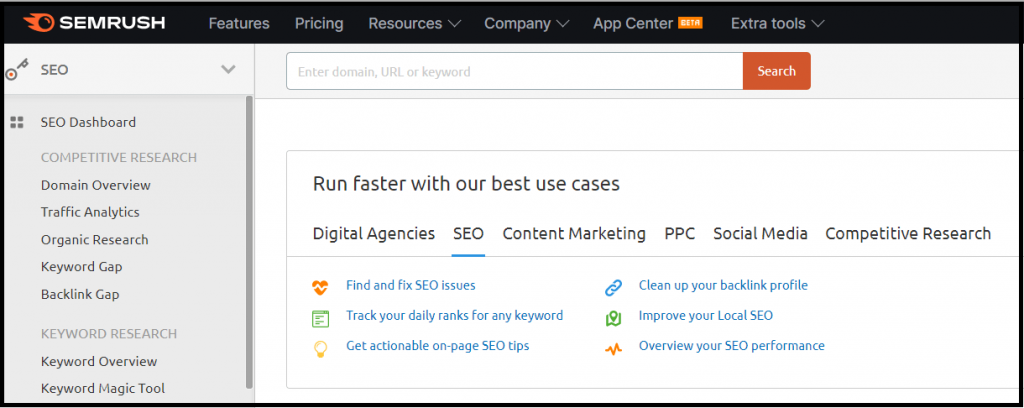 Semrush best keyword research tool and SEO