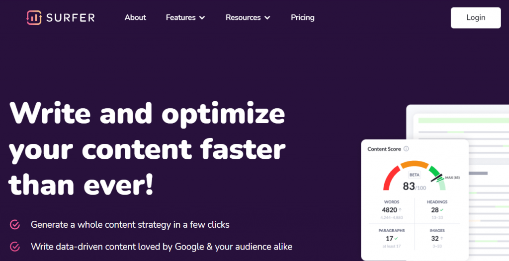Surfer SEO - Optimize content with keyword research