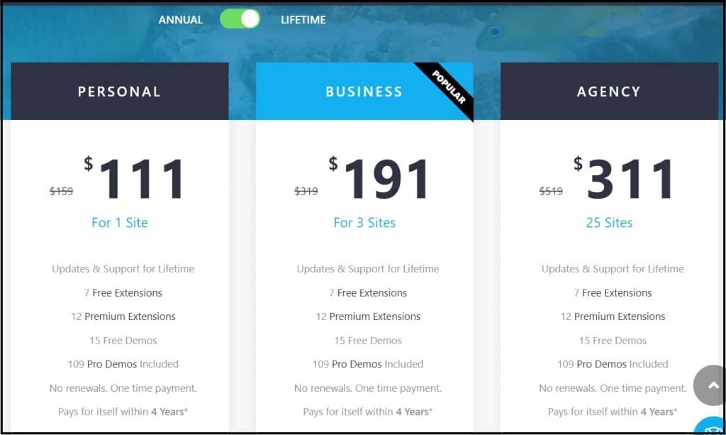 OceanWP lifetime discounts